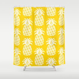Retro Mid Century Modern Pineapple Pattern Yellow 2 Shower Curtain