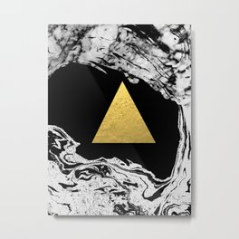 Davina - triangle modern minimal marble black and white foil gold abstract painting trendy bklyn  Metal Print