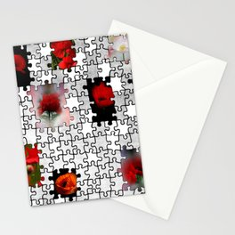poppy love in puzzle design Stationery Cards