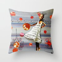 bonjour Throw Pillows featuring bonjour by Gina Geo