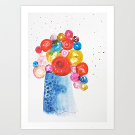 Abstract Flowers in Vase Art Print