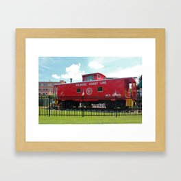 Red Caboose On Display Framed Art Print