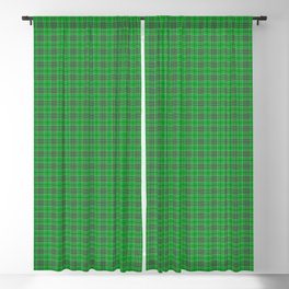 Christmas Holly Green and Evergreen Tartan with White Lines Blackout Curtain