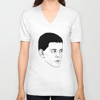 lou reed V-neck T-shirts featuring LOU REED by Mitch Meseke