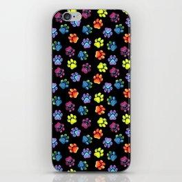 Black Rainbow Paw Print Pattern iPhone Skin