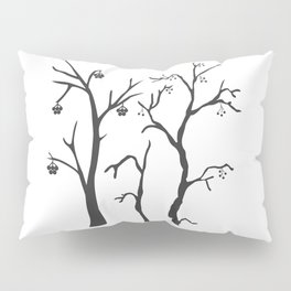 Silhouette of a rowan tree with berries Pillow Sham