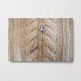 Cable Knit Safety Pin Metal Print