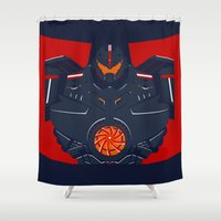 pacific rim Shower Curtains featuring Pacific Rim - Gipsy Danger - Minimal Poster by John Takacs