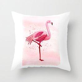 Pink Watercolor Flamingo Throw Pillow