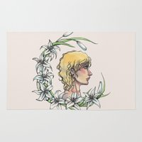 enjolras Area & Throw Rugs featuring Enjolras and lilies by MonsterFromTheLAke