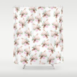 Hand painted modern pink brown watercolor peonies dove pattern Shower Curtain