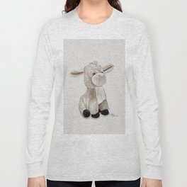 Cuddly Donkey Watercolor Long Sleeve T-shirt