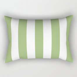 Olivine green - solid color - white vertical lines pattern Rectangular Pillow