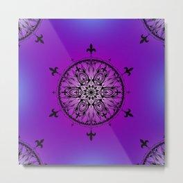 Fleur De Lys Mandala Metal Print