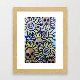 S is for Sunflowers and Skulls Framed Art Print