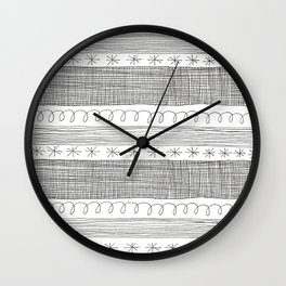 simple black and white doodle stripes Wall Clock