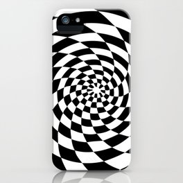Optical Illusion Op Art Black and White Retro Style iPhone Case