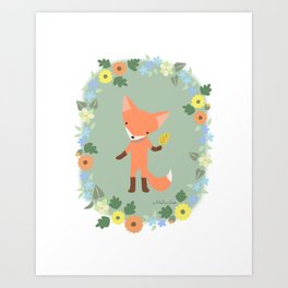 Little Red Fox Woodland Fox Illustration Art Print