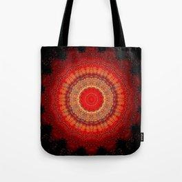 Vibrant Red Gold and black Mandala Tote Bag