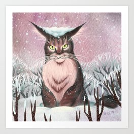 Maine Coon in the Snow Art Print