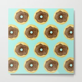 Donut Pattern - Blue Metal Print