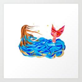 Pink-tailed mermaid Art Print