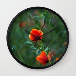 Red Poppy Bud Wall Clock
