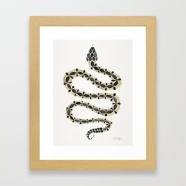 Serpent – Black & Gold Framed Art Print