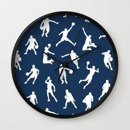 Basketball Players // Navy Wall Clock