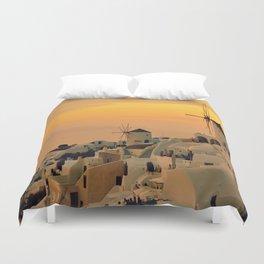 Sunset in Oia, Santorini Duvet Cover