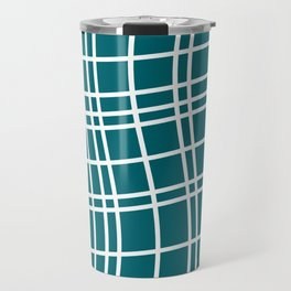 Dancing White Lines on Teal Field Travel Mug