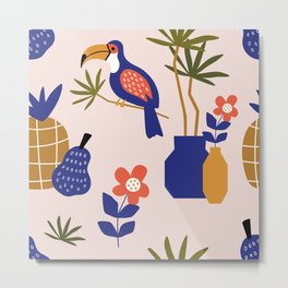 Toucans & Pineapples #1 Metal Print