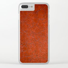 Brown puckered leather material abstract Clear iPhone Case