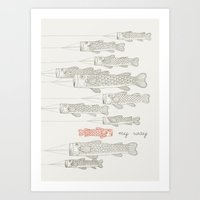 ilovedoodle Art Prints featuring My Way by I Love Doodle