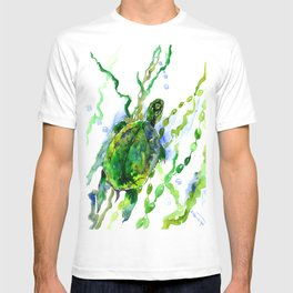 Green River Turtle Olive green Wall art T-shirt