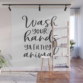 BATHROOM WALL DECOR, Wash Your Hands Ya Filthy Animal,Funny Print,Bathroom Sign,Shower Decor Wall Mural