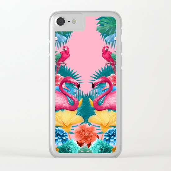Flamingo and Tropical garden Clear iPhone Case