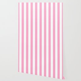 Pale Sweet Lilac and White Wide Vertical Cabana Tent Stripe Wallpaper