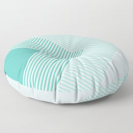 Teal Vibes - Geometric Triangle Stripes Floor Pillow