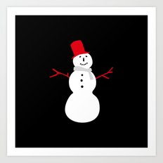 Christmas Snowman-Black Art Print