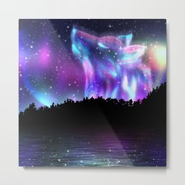 Northern landscape with howling wolf spirit and aurora borealis Metal Print