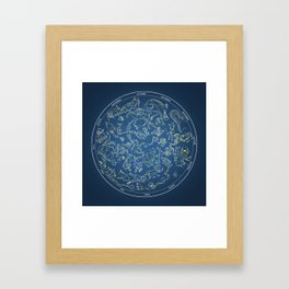 Constellations of the Northern Sky - Negative version Framed Art Print
