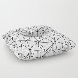 Abstract Outline Black on White Floor Pillow