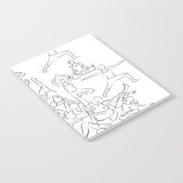 Yoga Asanas black on white Notebook
