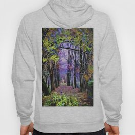 walk in the autumn forest with mist Hoody