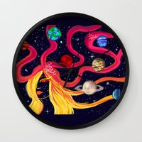 solar system Wall Clocks featuring Solar System by Lunah