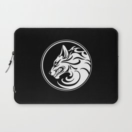 White and Black Growling Wolf Disc Laptop Sleeve