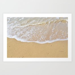 Beautiful wave surfing on a sandy beach Art Print