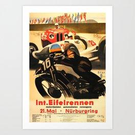 Nurburgring Race, vintage poster Art Print