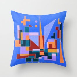 Modern City view in abstract geometric shapes Throw Pillow
